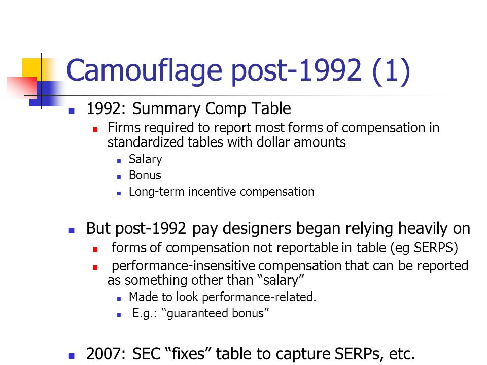 Camouflage post-1992 (1) 1992: Summary Comp Table Firms required to report most forms of compensation in standardized tables with dollar amounts Salary Bonus Long-term incentive compensation But post-1992 pay designers began relying heavily on forms of compensation not reportable in table (eg SERPS) performance-insensitive compensation that can be reported as something other than salary Made to look performance-related.