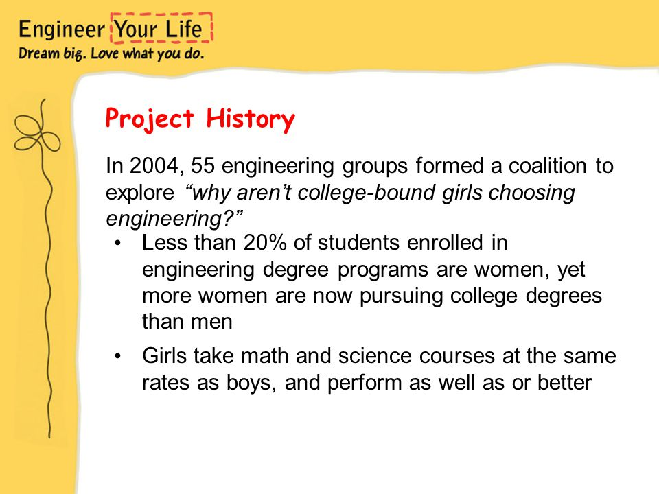 Project History Less than 20% of students enrolled in engineering degree programs are women, yet more women are now pursuing college degrees than men Girls take math and science courses at the same rates as boys, and perform as well as or better In 2004, 55 engineering groups formed a coalition to explore why aren't college-bound girls choosing engineering