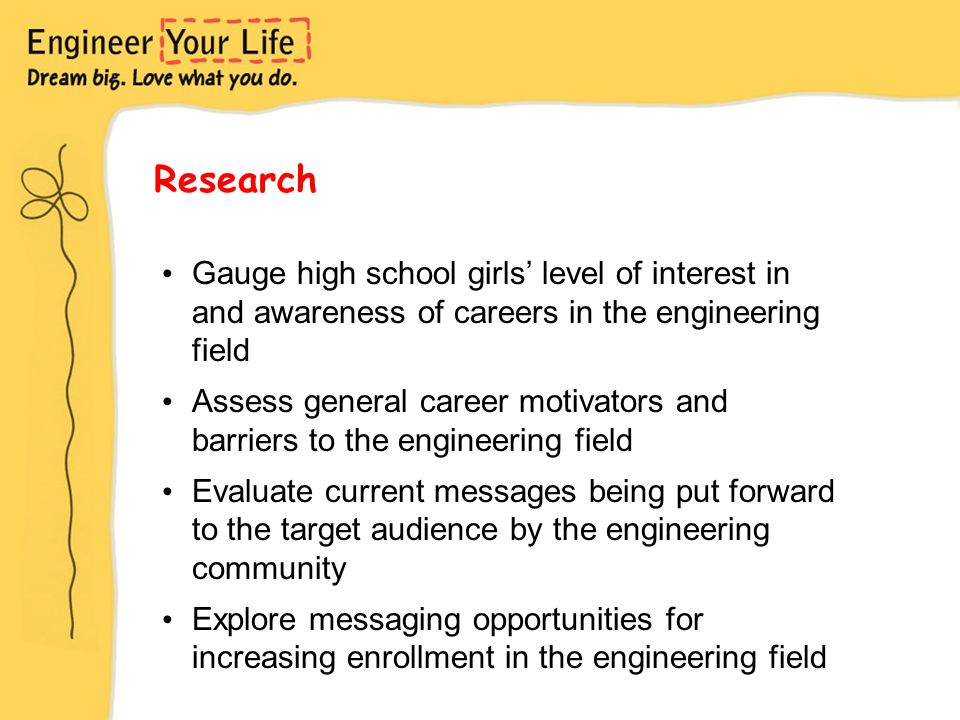 Research Gauge high school girls' level of interest in and awareness of careers in the engineering field Assess general career motivators and barriers to the engineering field Evaluate current messages being put forward to the target audience by the engineering community Explore messaging opportunities for increasing enrollment in the engineering field