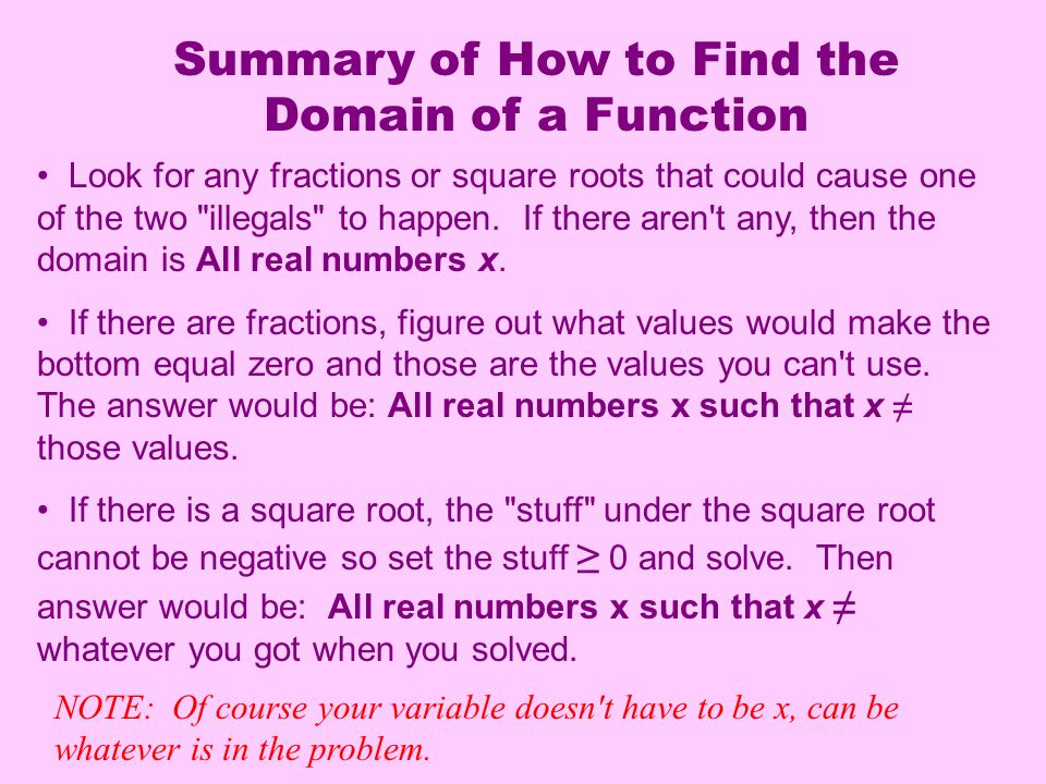 Summary of How to Find the Domain of a Function Look for any fractions or square roots that could cause one of the two illegals to happen.