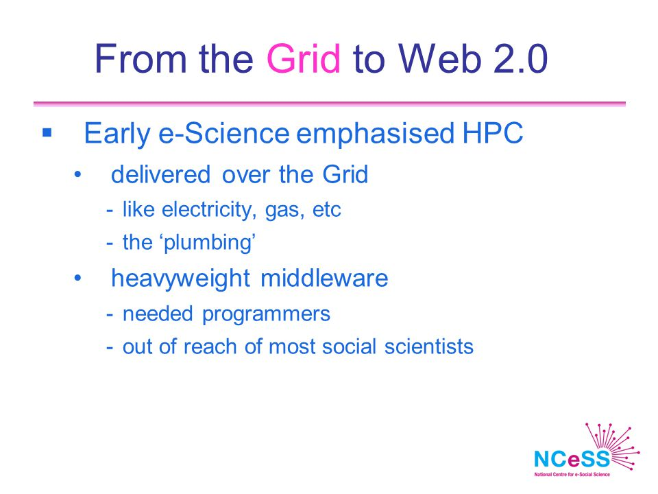 From the Grid to Web 2.0  Early e-Science emphasised HPC delivered over the Grid -like electricity, gas, etc -the 'plumbing' heavyweight middleware -needed programmers -out of reach of most social scientists