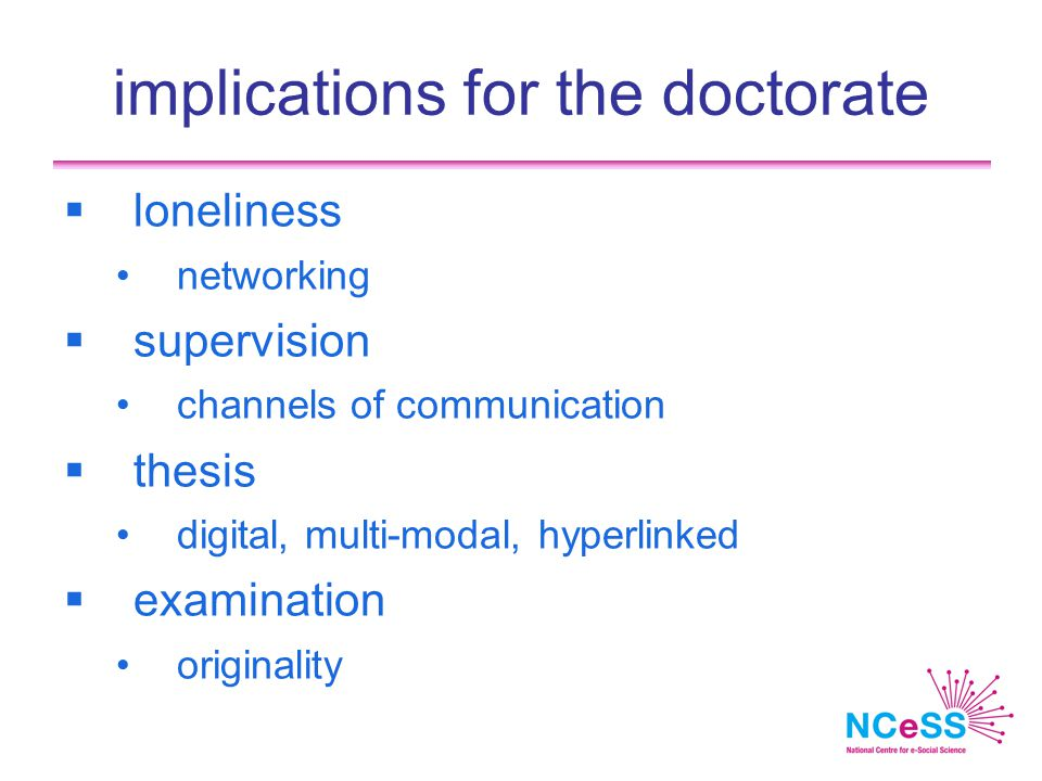 implications for the doctorate  loneliness networking  supervision channels of communication  thesis digital, multi-modal, hyperlinked  examination originality