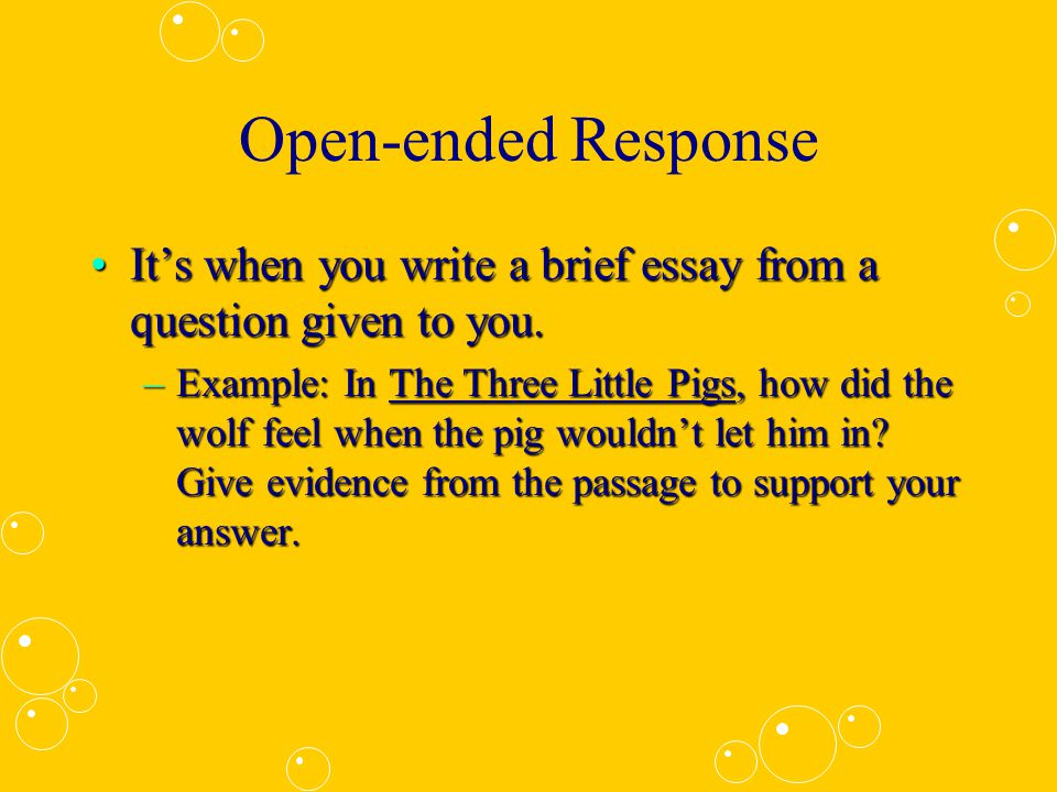 open ended essay examples