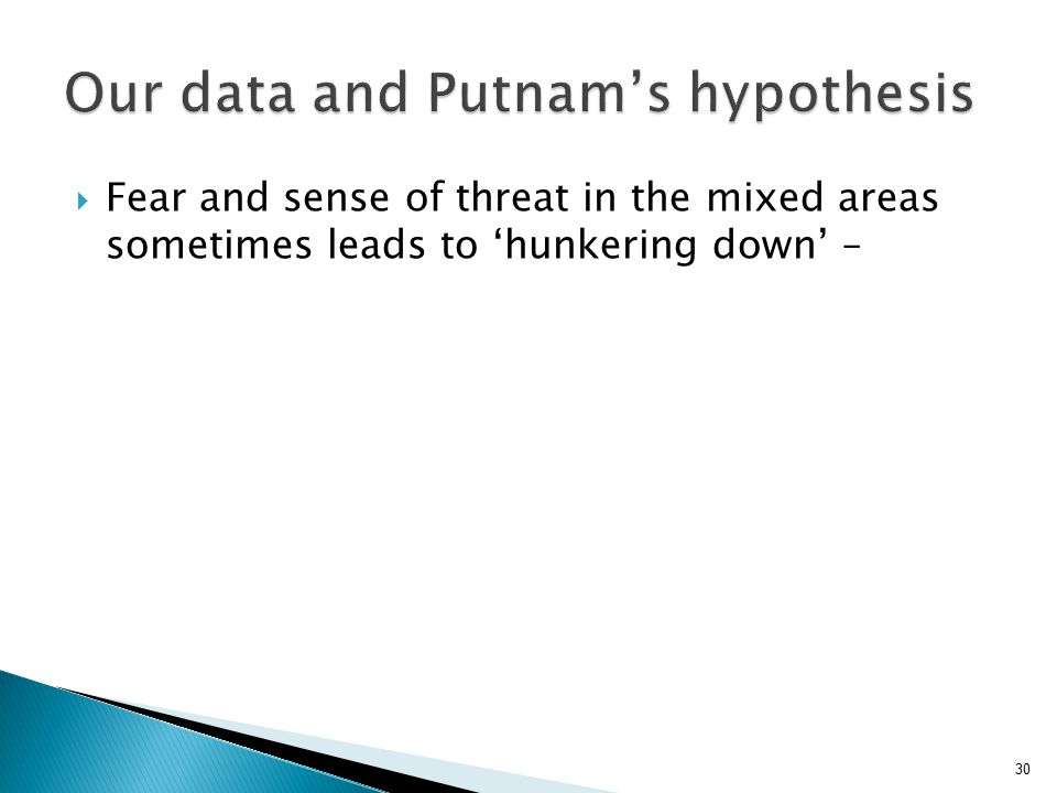 30  Fear and sense of threat in the mixed areas sometimes leads to 'hunkering down' –