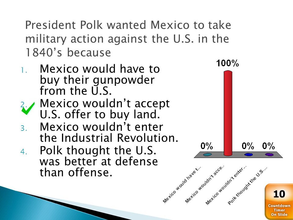 President Polk wanted Mexico to take military action against the U.S.