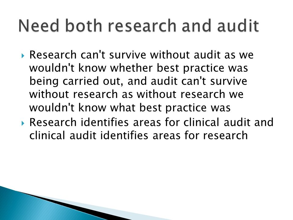 Research can t survive without audit as we wouldn t know whether best practice was being carried out, and audit can t survive without research as without research we wouldn t know what best practice was  Research identifies areas for clinical audit and clinical audit identifies areas for research