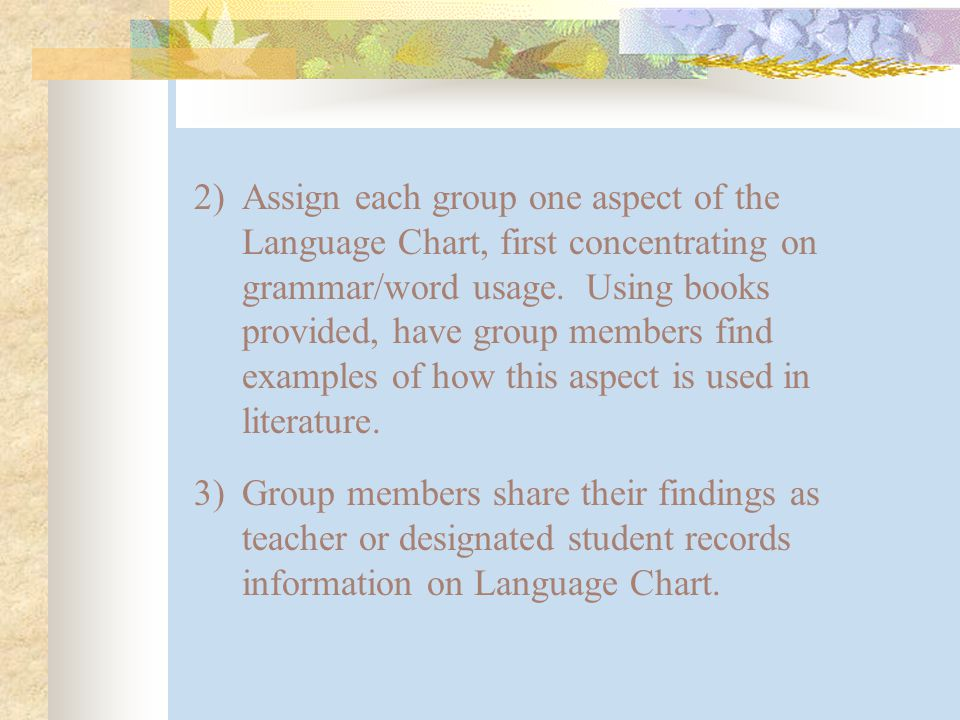 2)Assign each group one aspect of the Language Chart, first concentrating on grammar/word usage.