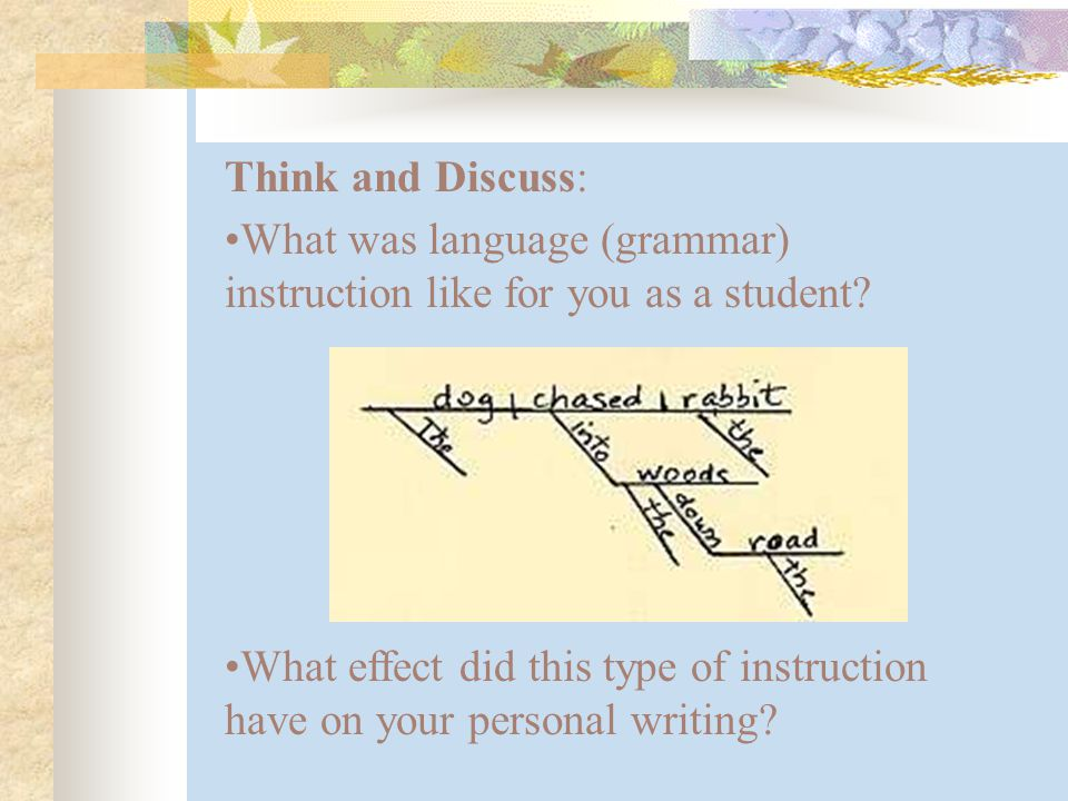 Think and Discuss: What effect did this type of instruction have on your personal writing.
