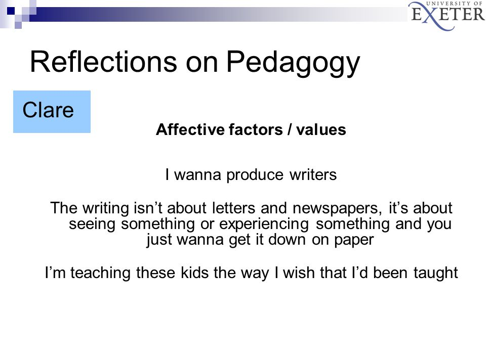 Affective factors / values I wanna produce writers The writing isn't about letters and newspapers, it's about seeing something or experiencing something and you just wanna get it down on paper I'm teaching these kids the way I wish that I'd been taught Reflections on Pedagogy Clare