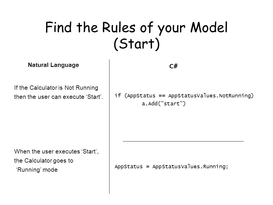 Find the Rules of your Model (Start) Natural Language If the Calculator is Not Running then the user can execute 'Start'.
