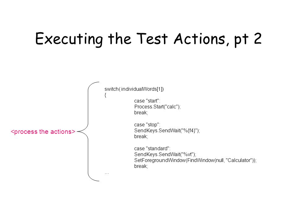 Executing the Test Actions, pt 2 switch( individualWords[1]) { case start : Process.Start( calc ); break; case stop : SendKeys.SendWait( %{f4} ); break; case standard : SendKeys.SendWait( %vt ); SetForegroundWindow(FindWindow(null, Calculator )); break; …