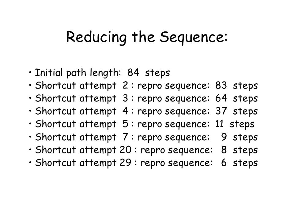 Reducing the Sequence: Initial path length: 84 steps Shortcut attempt 2 : repro sequence: 83 steps Shortcut attempt 3 : repro sequence: 64 steps Shortcut attempt 4 : repro sequence: 37 steps Shortcut attempt 5 : repro sequence: 11 steps Shortcut attempt 7 : repro sequence: 9 steps Shortcut attempt 20 : repro sequence: 8 steps Shortcut attempt 29 : repro sequence: 6 steps
