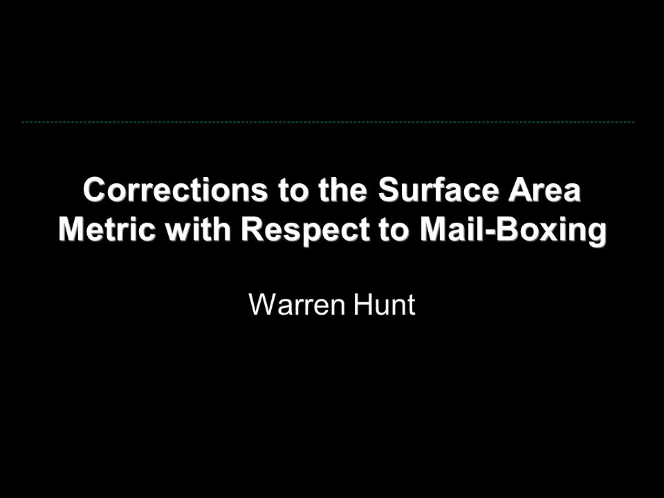 Corrections to the Surface Area Metric with Respect to Mail-Boxing Warren Hunt