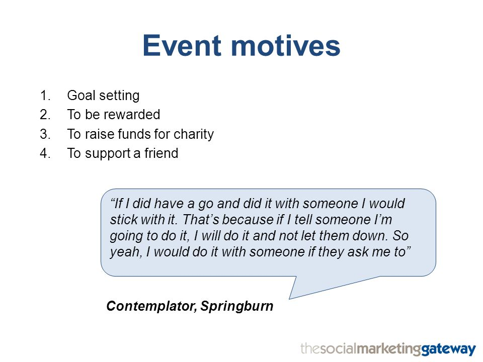 Event motives 1.Goal setting 2.To be rewarded 3.To raise funds for charity 4.To support a friend If I did have a go and did it with someone I would stick with it.
