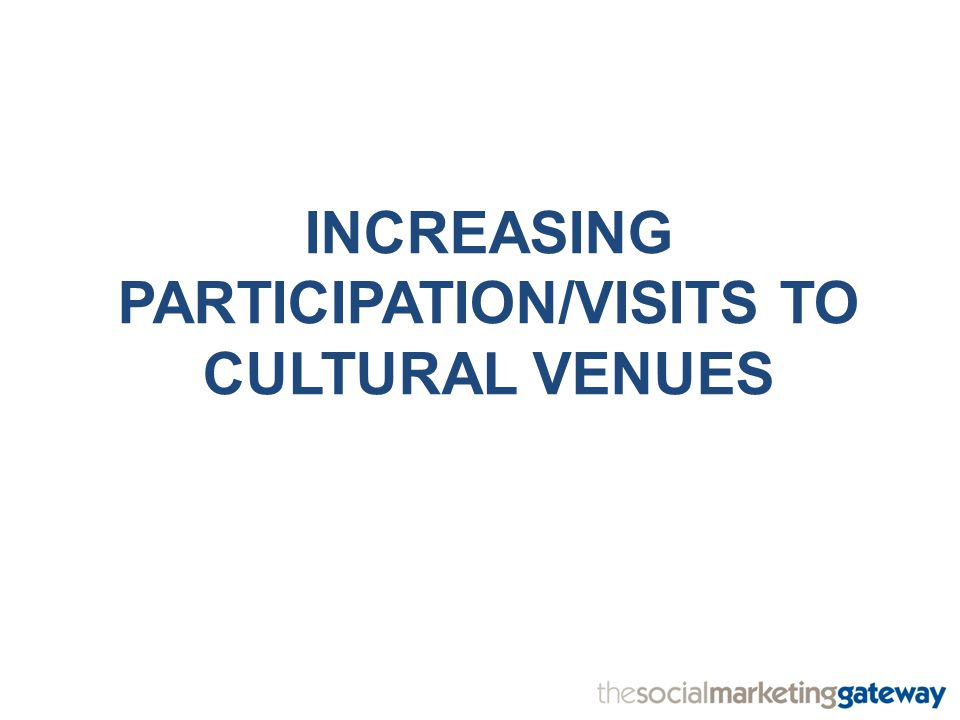 INCREASING PARTICIPATION/VISITS TO CULTURAL VENUES
