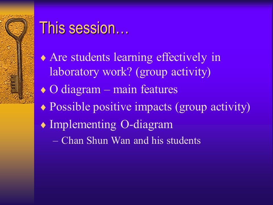 This session…  Are students learning effectively in laboratory work.