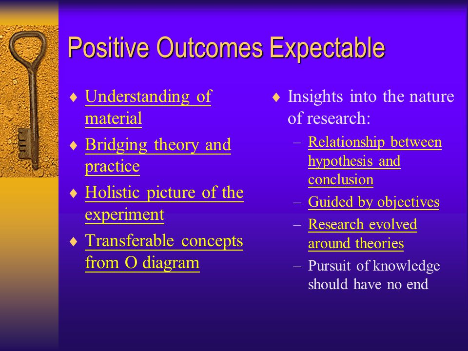 Positive Outcomes Expectable  Understanding of material Understanding of material  Bridging theory and practice Bridging theory and practice  Holistic picture of the experiment Holistic picture of the experiment  Transferable concepts from O diagram Transferable concepts from O diagram  Insights into the nature of research: –Relationship between hypothesis and conclusionRelationship between hypothesis and conclusion –Guided by objectivesGuided by objectives –Research evolved around theoriesResearch evolved around theories –Pursuit of knowledge should have no end