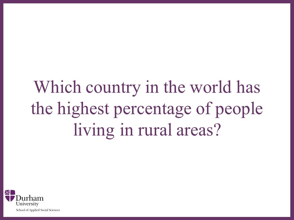 ∂ Which country in the world has the highest percentage of people living in rural areas