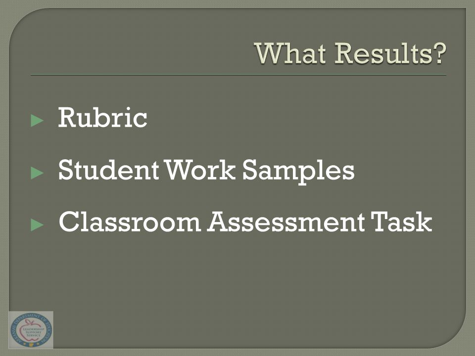 ▶ Rubric ▶ Student Work Samples ▶ Classroom Assessment Task