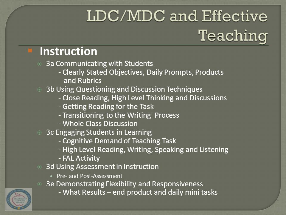  3a Communicating with Students - Clearly Stated Objectives, Daily Prompts, Products and Rubrics  3b Using Questioning and Discussion Techniques - Close Reading, High Level Thinking and Discussions - Getting Reading for the Task - Transitioning to the Writing Process - Whole Class Discussion  3c Engaging Students in Learning - Cognitive Demand of Teaching Task - High Level Reading, Writing, Speaking and Listening - FAL Activity  3d Using Assessment in Instruction Pre- and Post-Assessment  3e Demonstrating Flexibility and Responsiveness - What Results – end product and daily mini tasks  Instruction 31