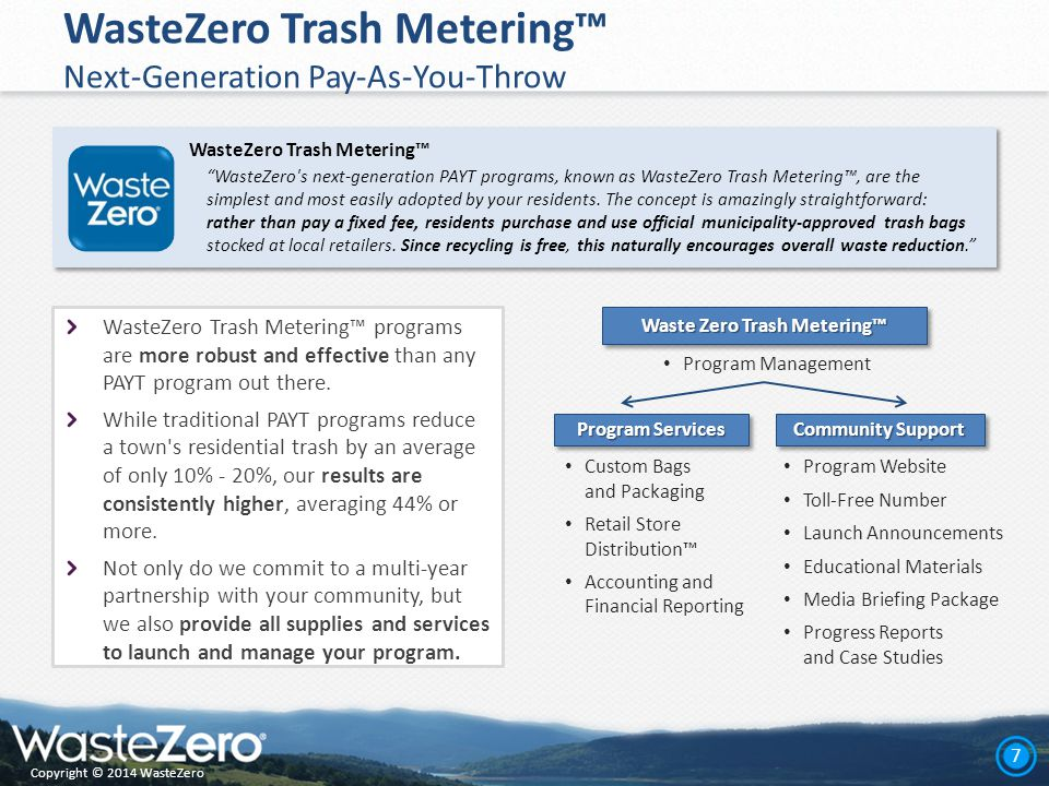 Copyright © 2014 WasteZero 7 WasteZero Trash Metering™ Next-Generation Pay-As-You-Throw WasteZero Trash Metering™ programs are more robust and effective than any PAYT program out there.