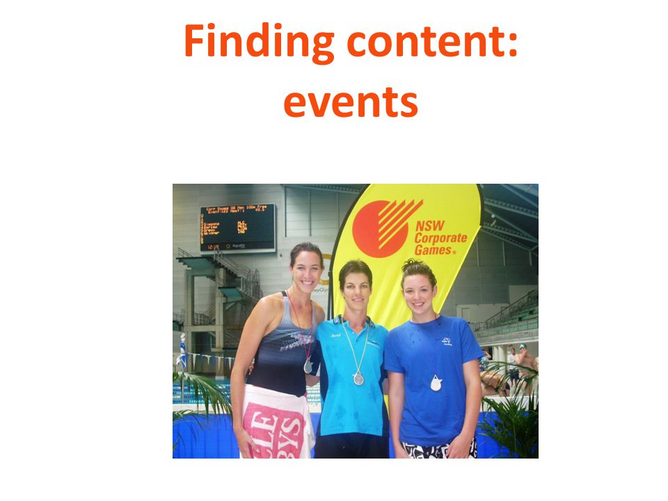 Finding content: events
