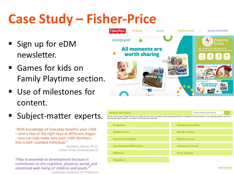 Case Study – Fisher-Price  Sign up for eDM newsletter.