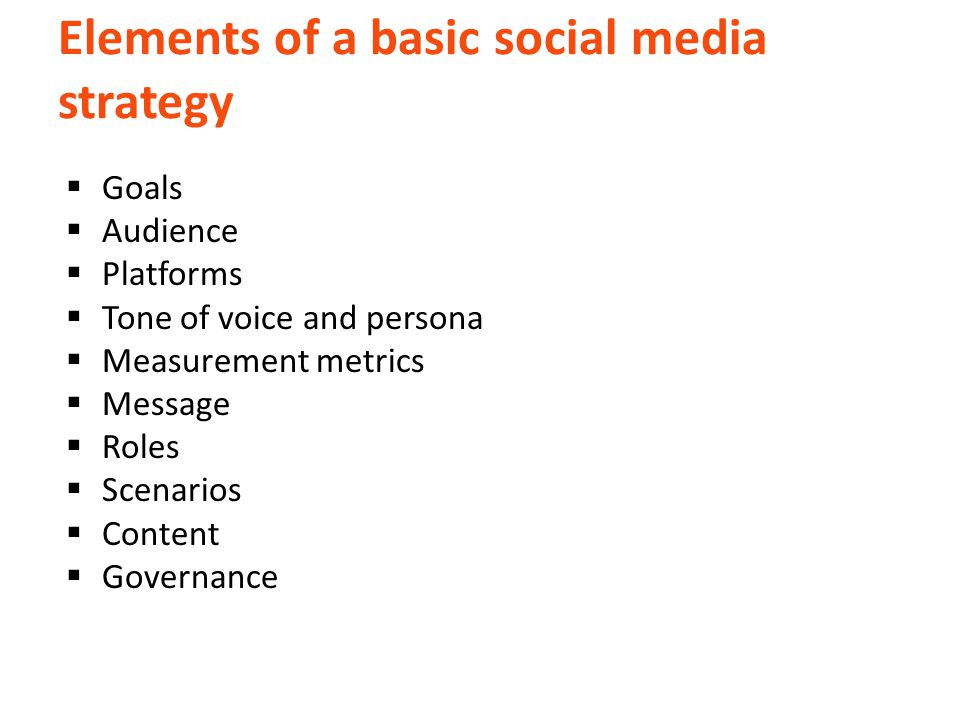 Elements of a basic social media strategy  Goals  Audience  Platforms  Tone of voice and persona  Measurement metrics  Message  Roles  Scenarios  Content  Governance
