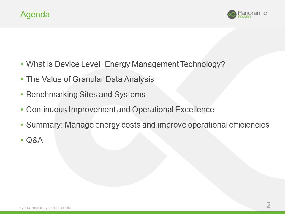 Agenda What is Device Level Energy Management Technology.