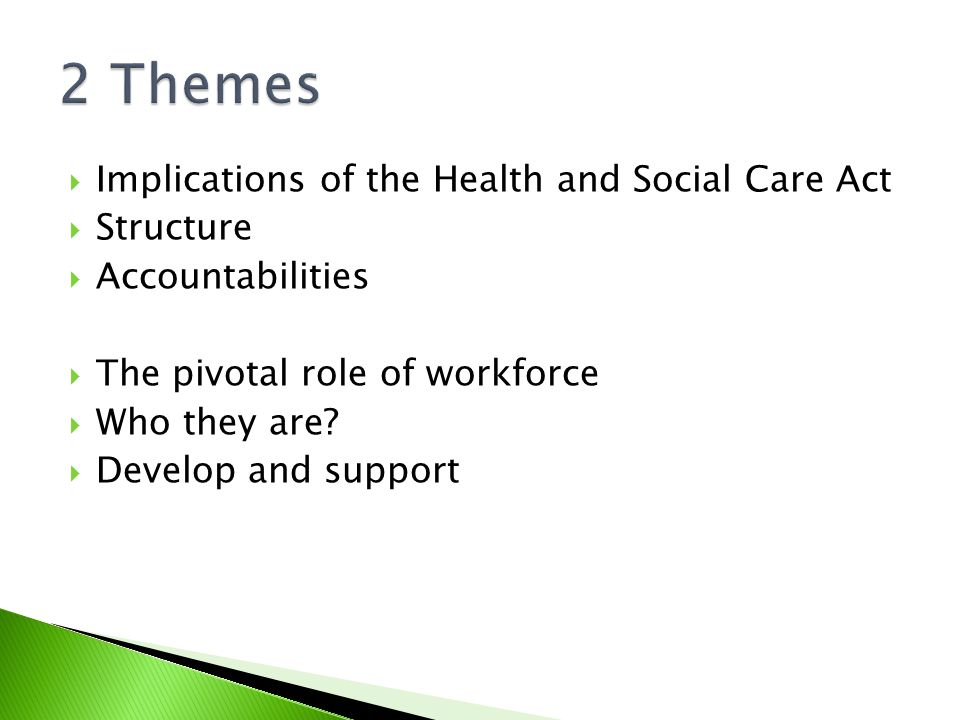  Implications of the Health and Social Care Act  Structure  Accountabilities  The pivotal role of workforce  Who they are.