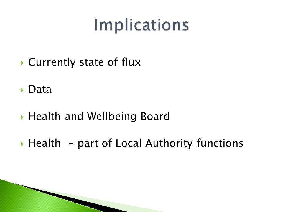  Currently state of flux  Data  Health and Wellbeing Board  Health - part of Local Authority functions