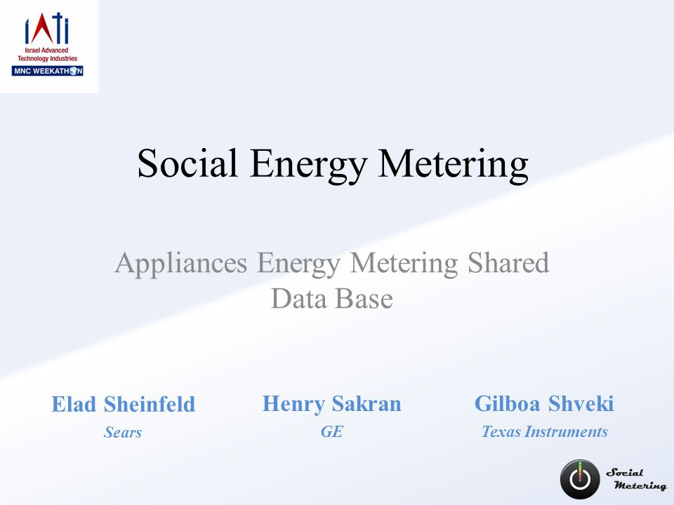 Social Energy Metering Appliances Energy Metering Shared Data Base Henry Sakran GE Elad Sheinfeld Sears Gilboa Shveki Texas Instruments