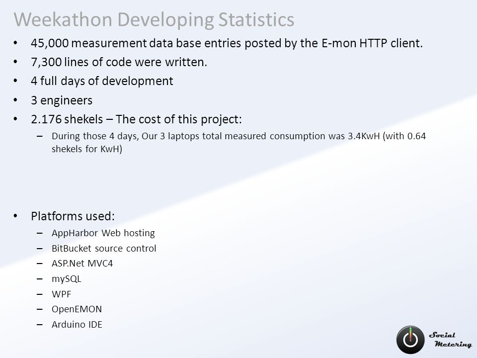 Weekathon Developing Statistics 45,000 measurement data base entries posted by the E-mon HTTP client.