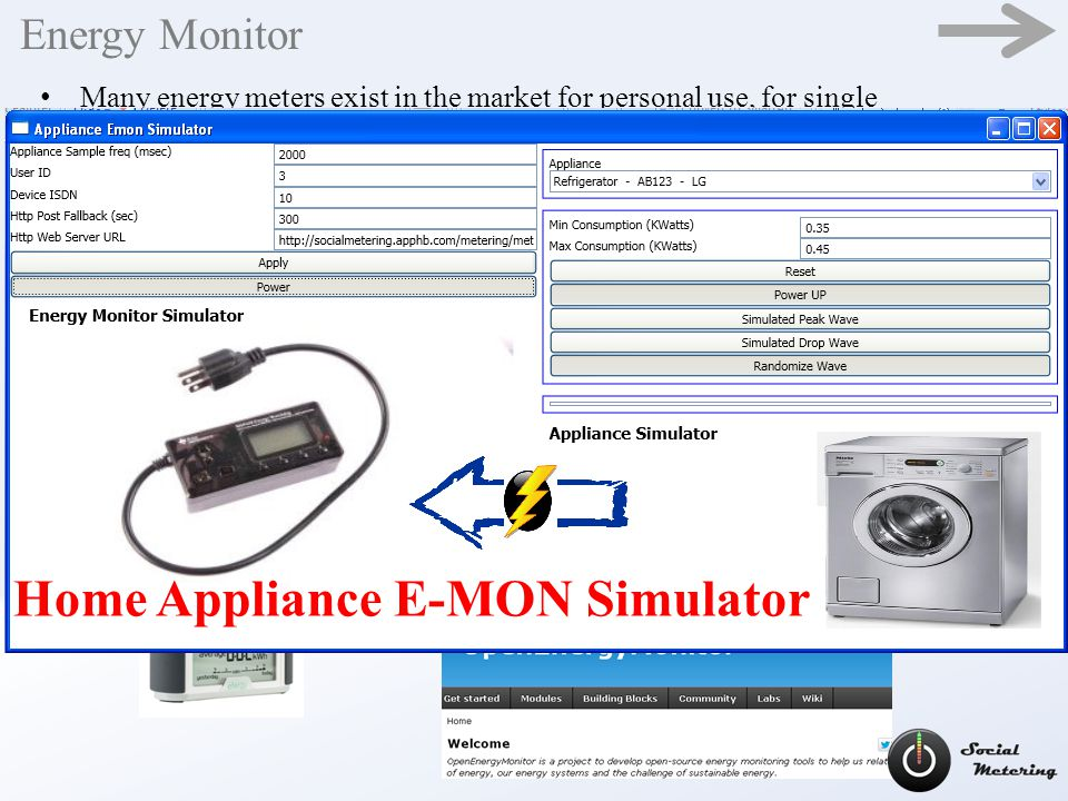 Energy Monitor Many energy meters exist in the market for personal use, for single appliance and for home total consumption monitoring.