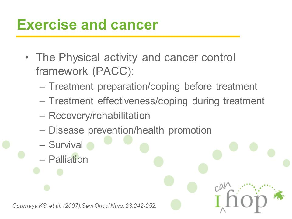 The Physical activity and cancer control framework (PACC): –Treatment preparation/coping before treatment –Treatment effectiveness/coping during treatment –Recovery/rehabilitation –Disease prevention/health promotion –Survival –Palliation Courneya KS, et al.