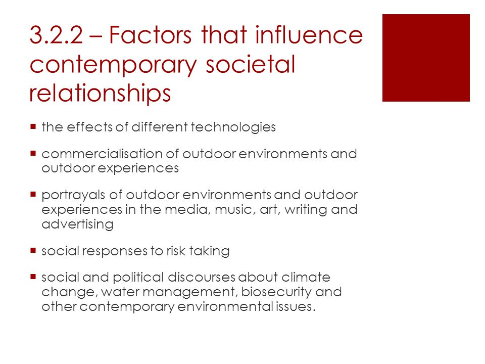 3.2.2 – Factors that influence contemporary societal relationships  the effects of different technologies  commercialisation of outdoor environments and outdoor experiences  portrayals of outdoor environments and outdoor experiences in the media, music, art, writing and advertising  social responses to risk taking  social and political discourses about climate change, water management, biosecurity and other contemporary environmental issues.