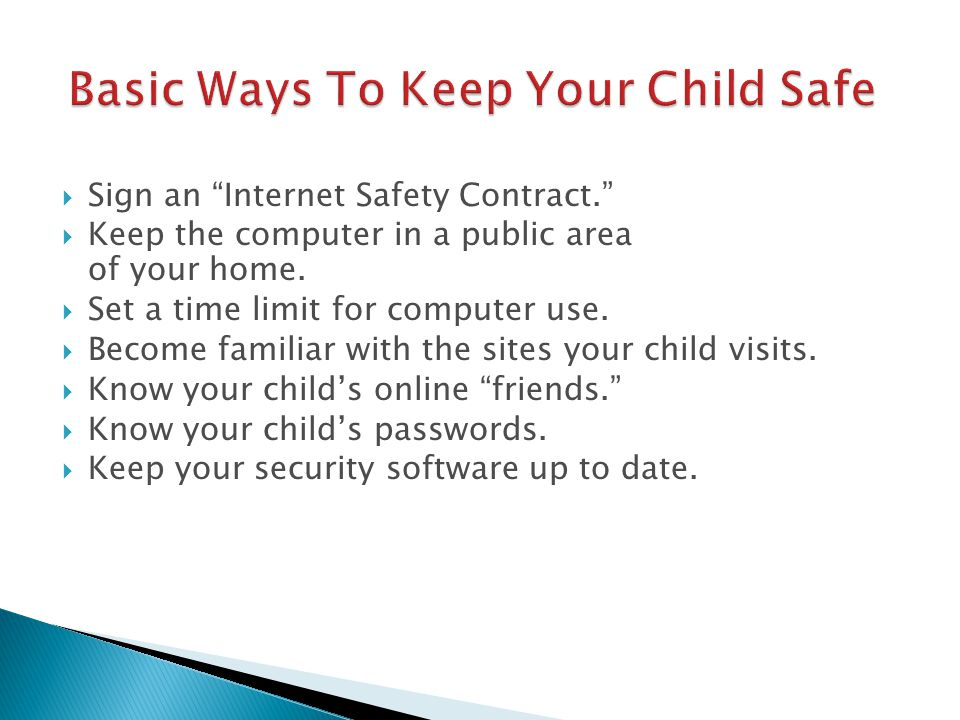  Sign an Internet Safety Contract.  Keep the computer in a public area of your home.