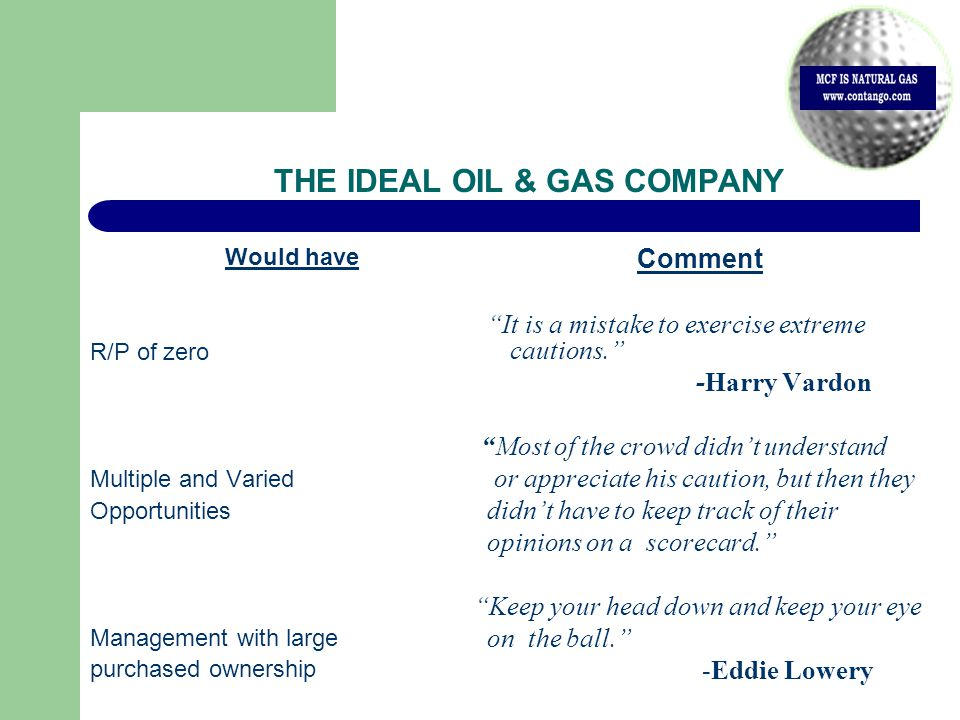 THE IDEAL OIL & GAS COMPANY Would have R/P of zero Multiple and Varied Opportunities Management with large purchased ownership Comment It is a mistake to exercise extreme cautions. -Harry Vardon Most of the crowd didn't understand or appreciate his caution, but then they didn't have to keep track of their opinions on a scorecard. Keep your head down and keep your eye on the ball. -Eddie Lowery