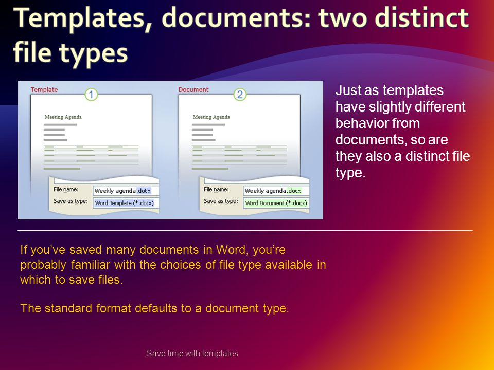 Save time with templates Just as templates have slightly different behavior from documents, so are they also a distinct file type.