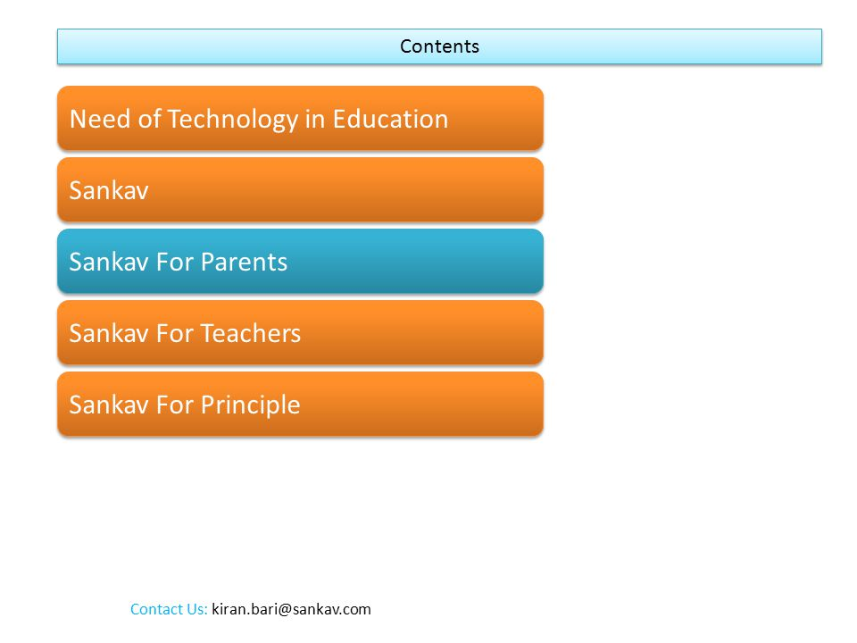 Contents Need of Technology in Education Sankav Sankav For Parents Sankav For Teachers Sankav For Principle Contact Us: