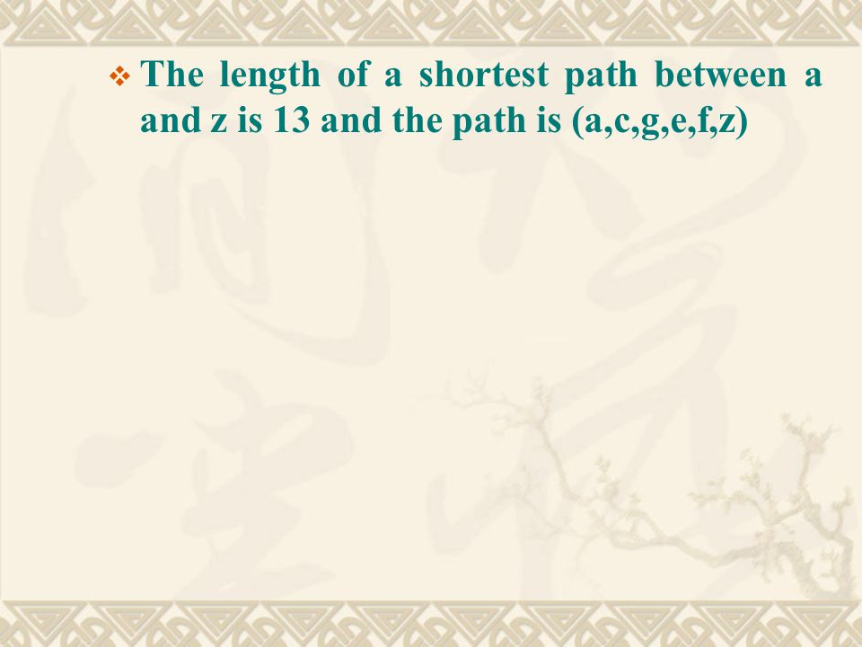  The length of a shortest path between a and z is 13 and the path is (a,c,g,e,f,z)