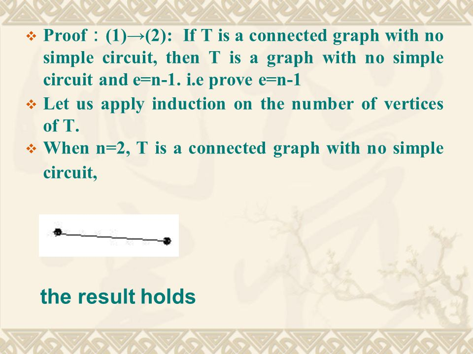  Proof : (1)→(2): If T is a connected graph with no simple circuit, then T is a graph with no simple circuit and e=n-1.