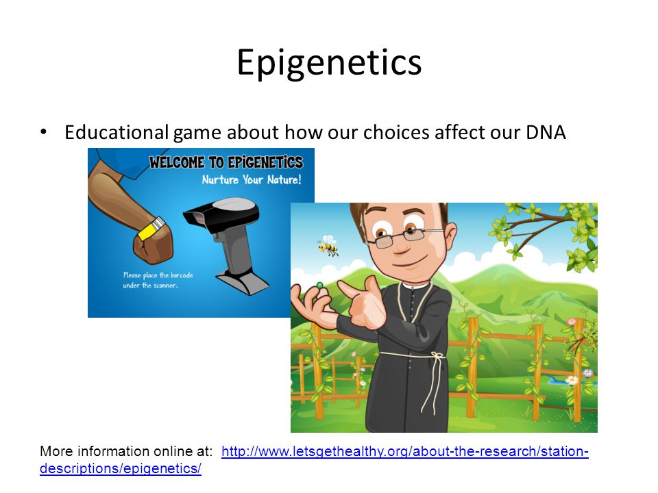 Epigenetics Educational game about how our choices affect our DNA More information online at: http://www.letsgethealthy.org/about-the-research/station- descriptions/epigenetics/http://www.letsgethealthy.org/about-the-research/station- descriptions/epigenetics/