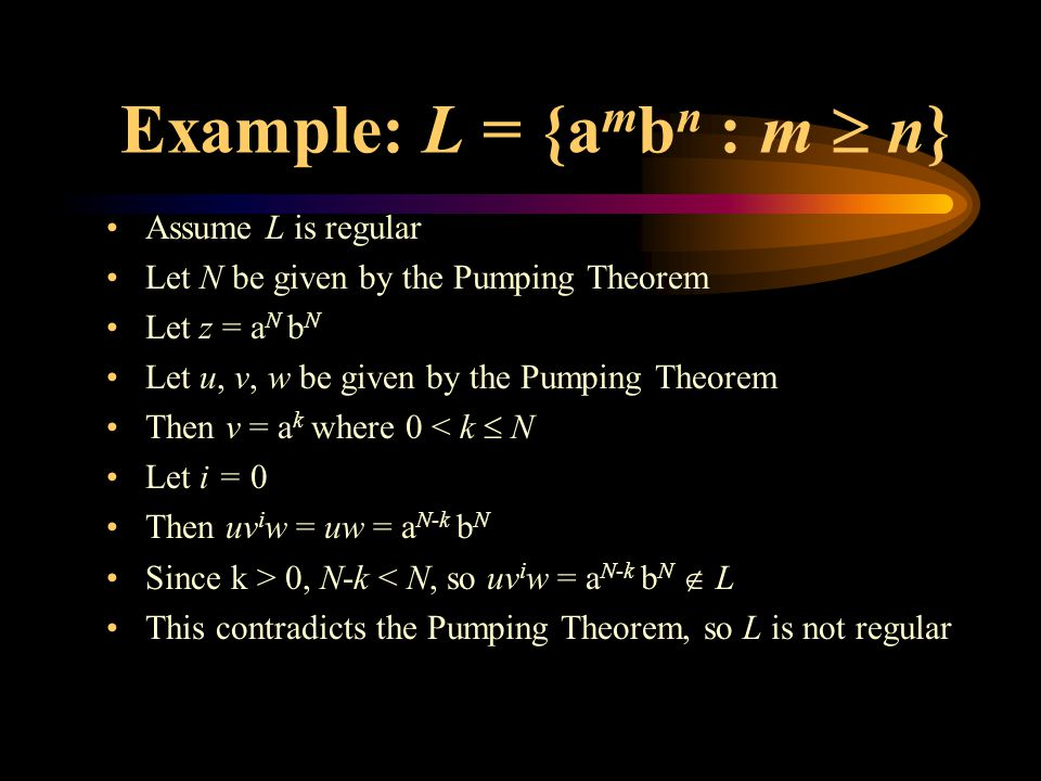 Example: L = {a m b n : m  n} Assume L is regular Let N be given by the Pumping Theorem Let z = a N b N Let u, v, w be given by the Pumping Theorem Then v = a k where 0 < k  N Let i = 0 Then uv i w = uw = a N-k b N Since k > 0, N-k < N, so uv i w = a N-k b N  L This contradicts the Pumping Theorem, so L is not regular