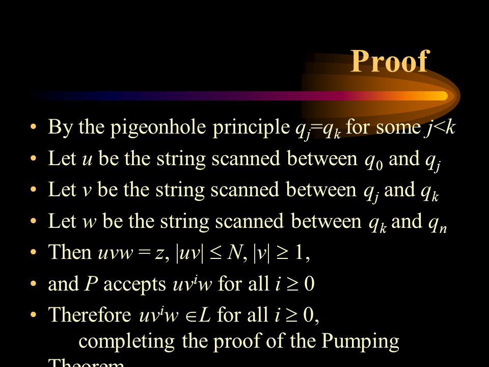 Proof By the pigeonhole principle q j =q k for some j<k Let u be the string scanned between q 0 and q j Let v be the string scanned between q j and q k Let w be the string scanned between q k and q n Then uvw = z, |uv|  N, |v|  1, and P accepts uv i w for all i  0 Therefore uv i w  L for all i  0, completing the proof of the Pumping Theorem