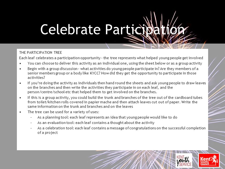 Celebrate Participation THE PARTICIPATION TREE Each leaf celebrates a participation opportunity – the tree represents what helped young people get involved You can choose to deliver this activity as an individual one, using the sheet below or as a group activity Begin with a group discussion – what activities do young people participate in.