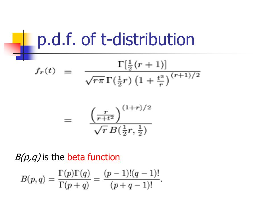 p.d.f. of t-distribution B(p,q) is the beta functionbeta function