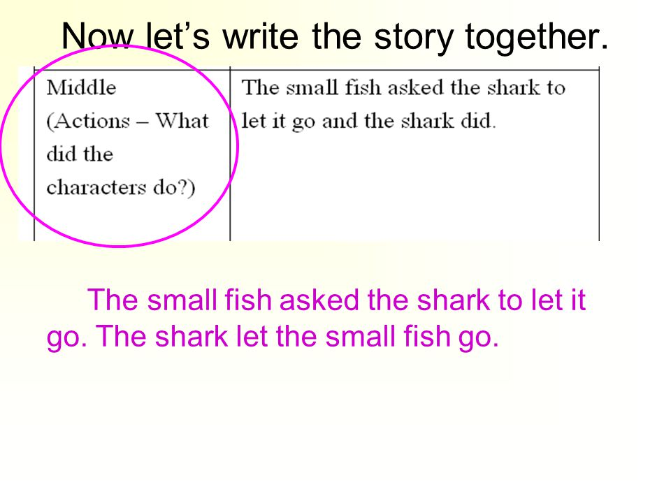 The small fish asked the shark to let it go. The shark let the small fish go.