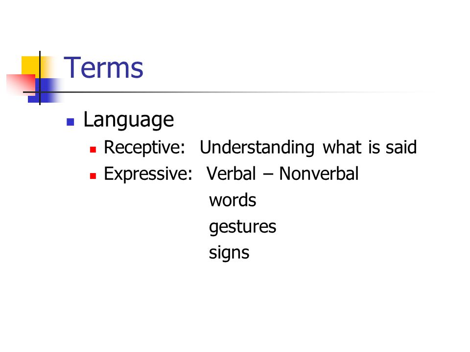 Terms Language Receptive: Understanding what is said Expressive: Verbal – Nonverbal words gestures signs