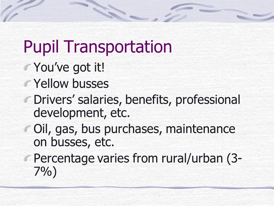 Pupil Transportation You've got it.